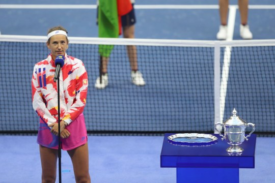 Victoria Azarenka of Belarus speaks during the trophy ceremony after losing during her Women's Singles final match against Naomi Osaka of Japan on Day Thirteen of the 2020 US Open at the USTA Billie Jean King National Tennis Center on September 12, 2020 in the Queens borough of New York City.