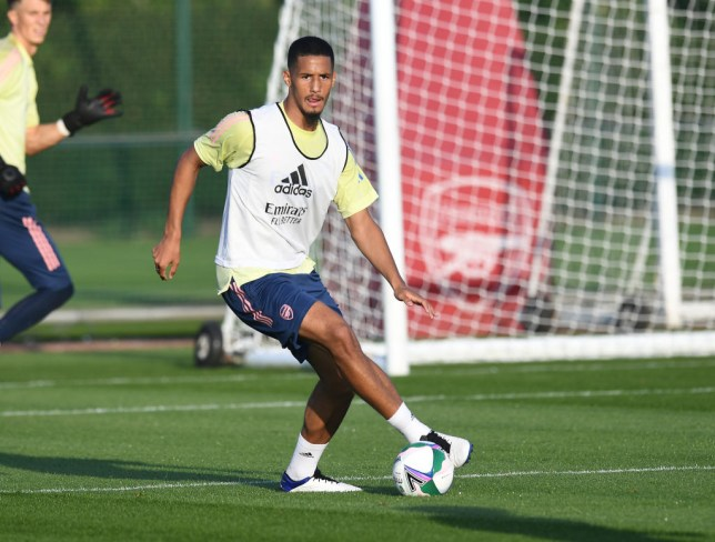 William Saliba of Arsenal during a training session at London Colney on September 21, 2020 in St Albans, England.