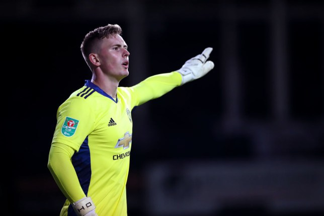 Dean Henderson of Manchester United reacts during the Carabao Cup Third Round match between Luton Town and Manchester United at Kenilworth Road on September 22, 2020 in Luton, England. Sporting Stadiums around Europe remain empty due to the Coronavirus Pandemic as Government social distancing laws prohibit fans inside venues resulting in games being played behind closed doors