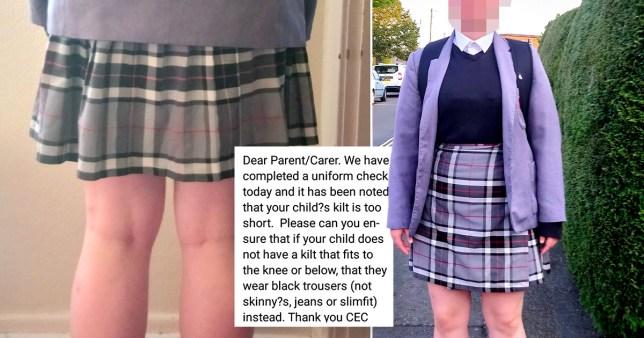 Pictures of schoolgirl's skirt length