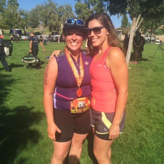 Janiel Green with a friend after finishing the Pumpkinman Triathlon