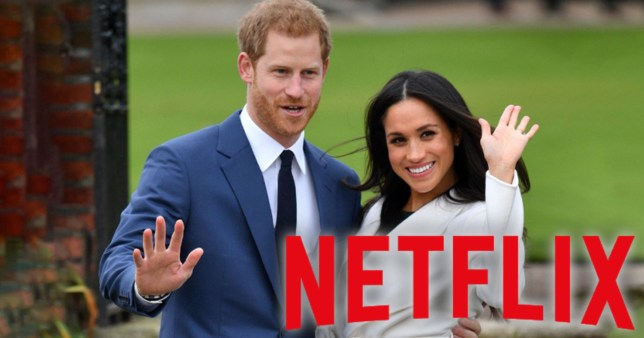 Prince Harry and Meghan Markle waving to the camera with a Netflix logo on top of the image.
