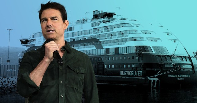 Tom Cruise with a cruise ship in the background