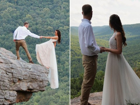 Bride and groom pose for terrifying wedding photoshoot hanging off the edge of a cliff