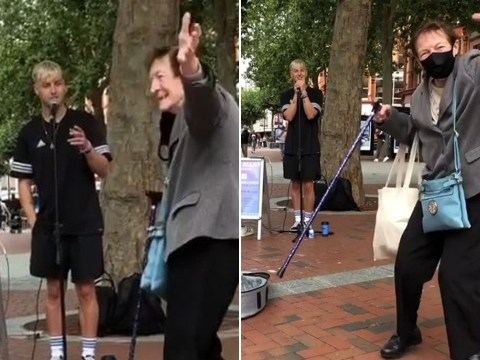 Busker delights 86-year-old pensioner who bursts out dancing to his cover of an Elvis song