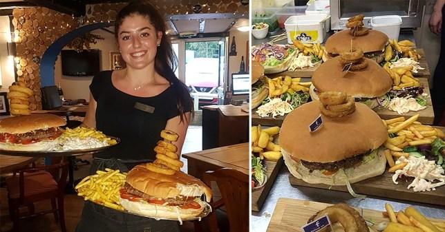 Massive burger being served