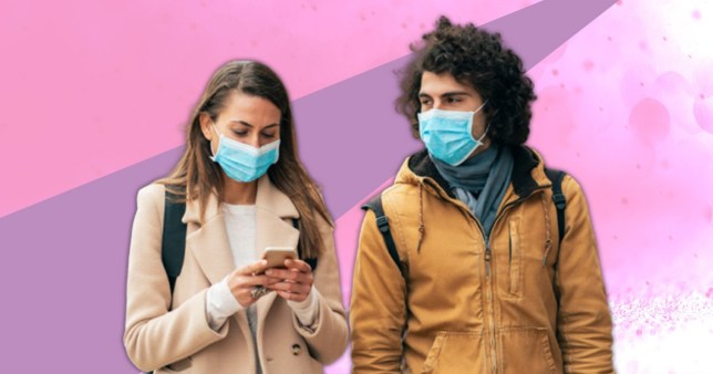 A woman and a man wearing blue face masks against a pink and purple background