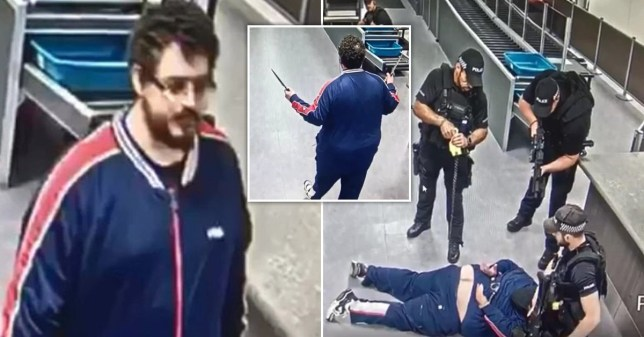 Adam Russell turned up at Gatwick Airport brandishing two knives.
