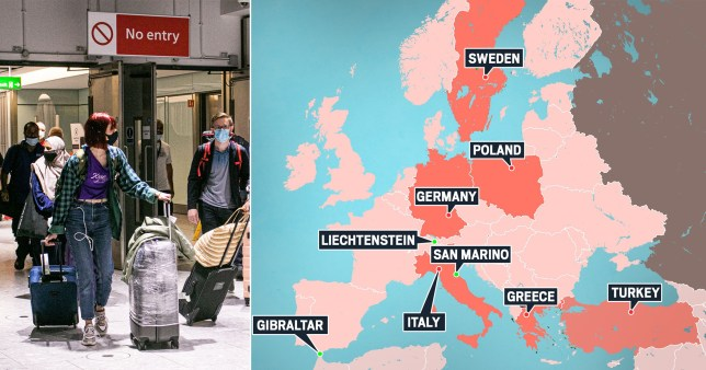 A list of nine countries Brits can travel to can be seen alongside a photo of people wearing masks.