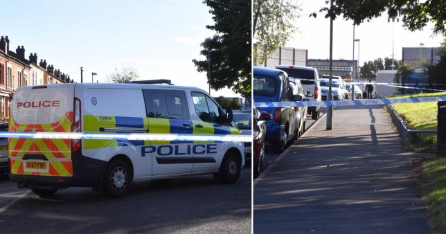The scene in in the Bordesley Green, Birmingham where two men were shot and another was stabbed
