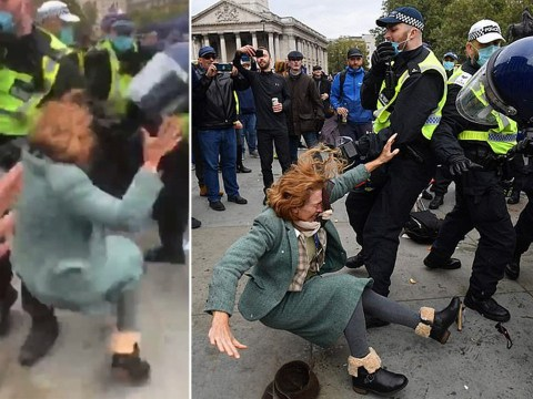 Maskless woman shoved to ground in clashes with police at anti-lockdown protest