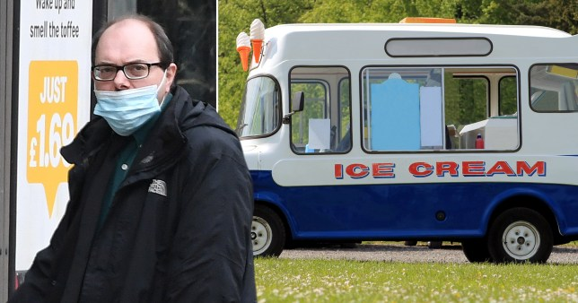 Composition showing a convicted paedophile and an ice cream van
