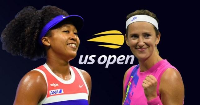 US Open finalists Naomi Osaka and Victoria Azarenka look on