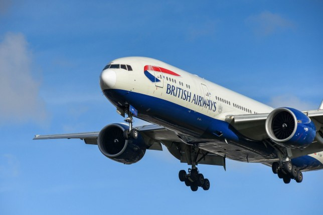 British Airways Boeing 777 long haul airliner on final approach to land at London Heathrow Airport.