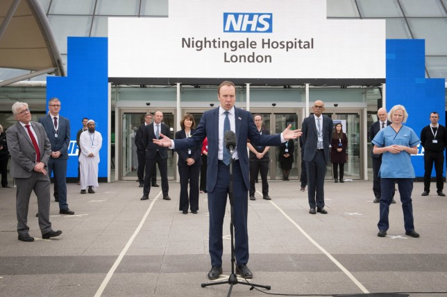 Health Secretary Matt Hancock at the opening of the NHS Nightingale Hospital at the ExCel centre
