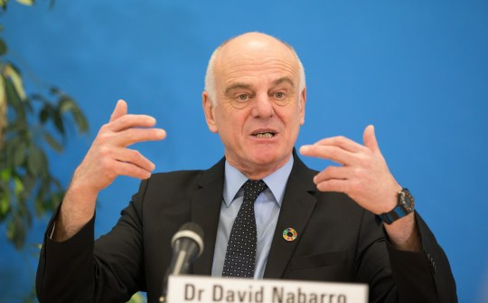 (170126) -- GENEVA, Jan. 26, 2017 (Xinhua) -- David Nabarro, UN Special Adviser on 2030 Agenda for Sustainable Development, addresses the media in the headquarters of World Health Organization (WHO) in Geneva, Switzerland, Jan. 26, 2017. The WHO Executive Board selected 3 nominees, Pakistani candidate Sania Nishtar, Ethiopian candidate Tedros Adhanom Ghebreyesus and British candidate David Nabarro, for the post of WHO Director-General on Wednesday. (Xinhua/Xu Jinquan)(zf) (Photo by Xinhua/Sipa USA)