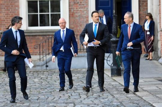Dr Ronan Glynn, Minister for Health Stephen Donnelly, Tanaiste Leo Varadkar and Taoiseach Micheal Martin TD