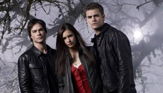 Vampire Diaries stars as Damon, Elena and Stefan.
