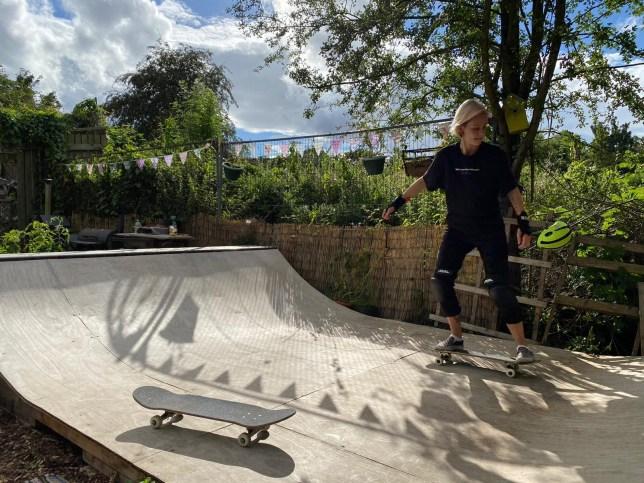Woman skate boarding