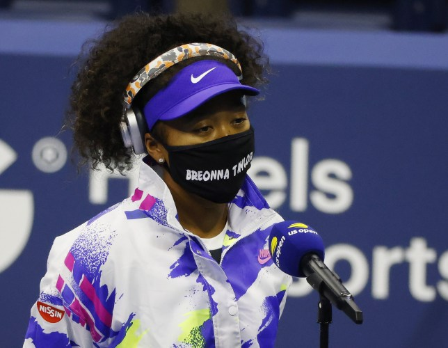 Naomi Osakawore a mask with Breonna Taylor's name on it as she arrived to play Misaki Doi at the US Open