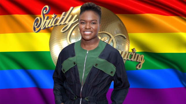 Nicola Adams in front of the Strictly logo