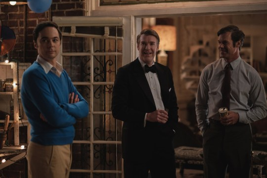 THE BOYS IN THE BAND (2020) Jim Parsons as Michael, Brian Hutchison as Alan and Tuc Watkins as Hank. Cr. Scott Everett White/NETFLIX ??2020