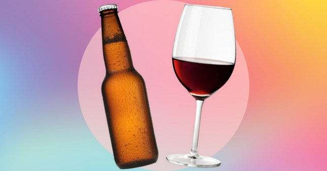 small glass of wine and bottle of beer