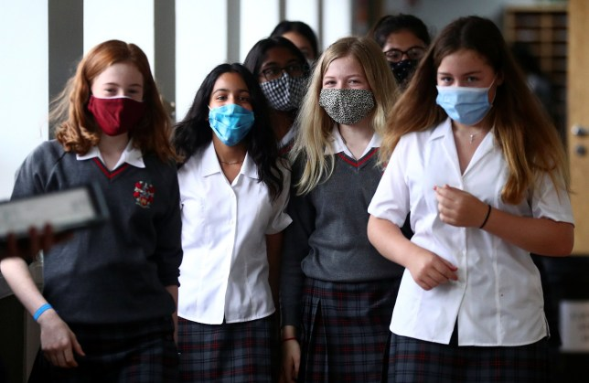 Students in face masks at school