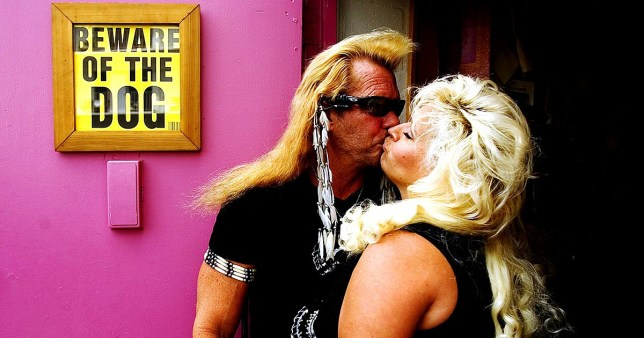 Editorial use only Mandatory Credit: Photo by David Howells/REX (602297c) Duane 'Dog' Chapman, AKA Dog the Bounty Hunter with his wife Beth. Duane 'Dog' Chapman in his office in Honolulu, Hawaii, America - 10 Jul 2006