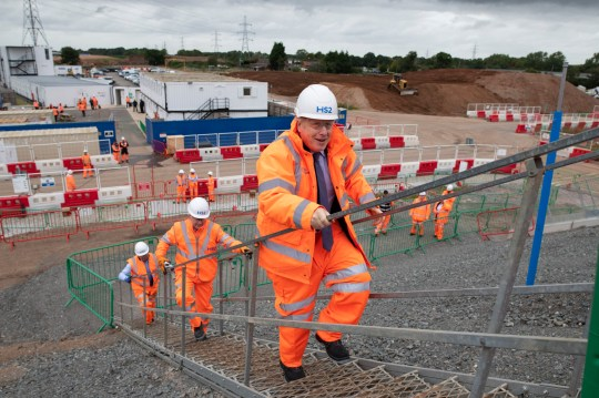 Prime Minister Boris Johnson during a visit to the HS2 Solihull Interchange building site in the West Midlands to mark the formal start of construction on HS2. PA Photo. Picture date: Friday September 4, 2020. See PA story RAIL HS2. Photo credit should read: Andrew Fox/Daily Telegraph/PA Wire