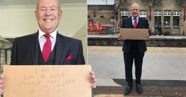 Job seeker, 63, personally hands out 200 CVs after being made redundant (Picture: SWNS)