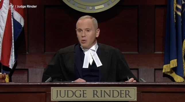Judge Rinder in the courtroom wearing judge's robes