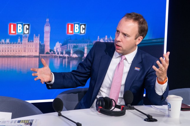 Health Secretary Matt Hancock is the first Cabinet member to take part in LBC???s new phone-in, Call the Cabinet, with host Nick Ferrari, at their new studio in Millbank, London. HANDOUT IMAGE. FREE EDITORIAL USE.