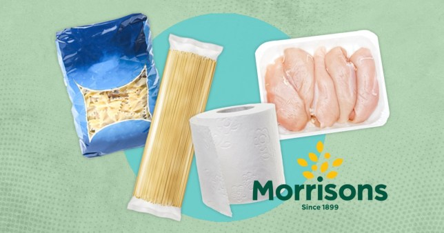 Chicken, pasta and toilet roll on a green background with the Morrisons logo.