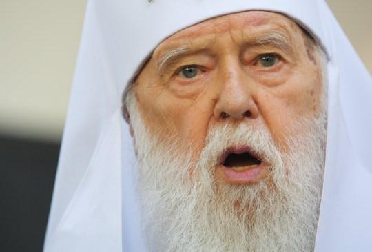 Patriarche de l'Église orthodoxe d'Ukraine, Filaret s'entretient avec les médias à la Maison du patriarche après le Synode de Kiev, Ukraine, le 24 mai 2019. Après le patriarche honoraire de l'Église orthodoxe d'Ukraine, Filaret avait exprimé son désir de restaurer la structure de l'Église orthodoxe ukrainienne liquidée du patriarcat de Kiev, le métropolite de l'Église orthodoxe d'Ukraine Épiphane de Kiev et de toute l'Ukraine a dû appeler au Synode de l'Église - Conseil de l'Église orthodoxe d'Ukraine.  (Photo de Sergii Kharchenko / NurPhoto via Getty Images)