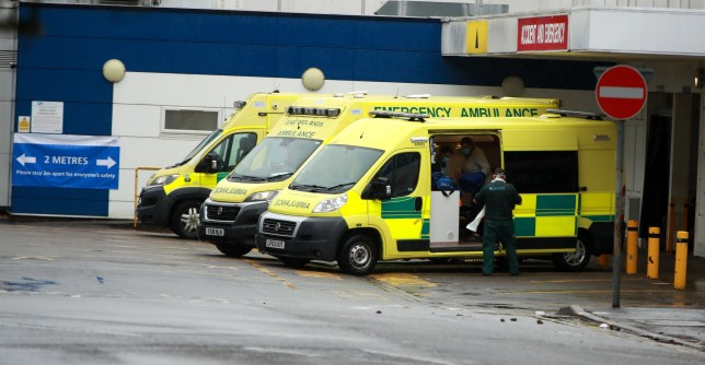 NORTHAMPTON, UNITED KINGDOM - APRIL 28: Ambulances parked at Northampton General Hospital on April 28, 2020 in Northampton, England. British Prime Minister Boris Johnson, who returned to Downing Street this week after recovering from Covid-19, said the country needed to continue its lockdown measures to avoid a second spike in infections. (Photo by David Rogers/Getty Images)