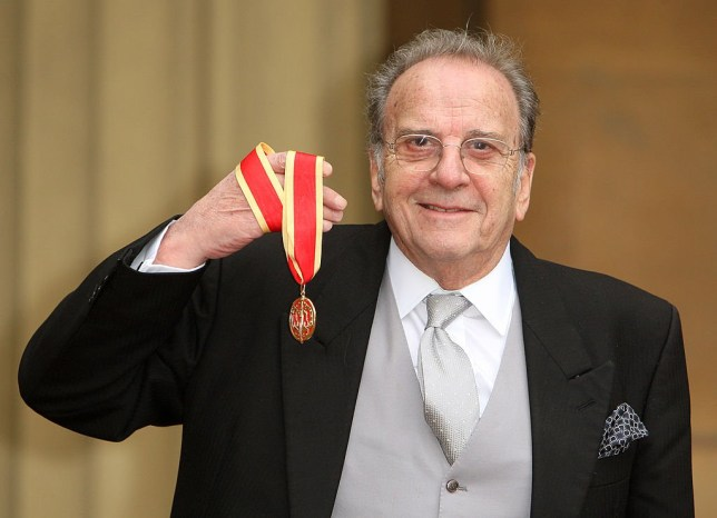LONDON - JANUARY 27: Playwright Sir Ronald Harwood with his Knighthood medal awarded by the Prince of Wales at an investiture ceremony on January 27, 2011 at Buckingham Palace, London. (Photo by Dominic Lipinski - WPA Pool/Getty Images