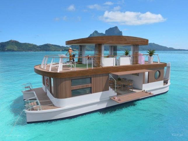 Amazing four-bedroom floating villa A luxurious 4-bedroom floating villa is set to take guests around the turquoise seas of Bora Bora