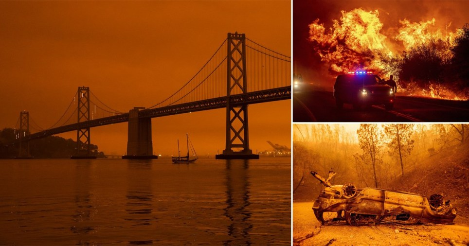 San Francisco swathed in Orange smoke from wildfires Getty