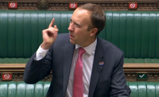 A video grab from footage broadcast by the UK Parliament's Parliamentary Recording Unit (PRU) shows Britain's Health Secretary Matt Hancock giving a statement on coronavirus on September 10, 2020. - The law in England will change from next week to reduce the number of people who can gather socially from 30 to six, with some exemptions. (Photo by STRINGER / PRU / AFP) / RESTRICTED TO EDITORIAL USE - NO USE FOR ENTERTAINMENT, SATIRICAL, ADVERTISING PURPOSES - MANDATORY CREDIT