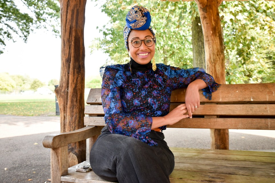Yassmin sat in the park