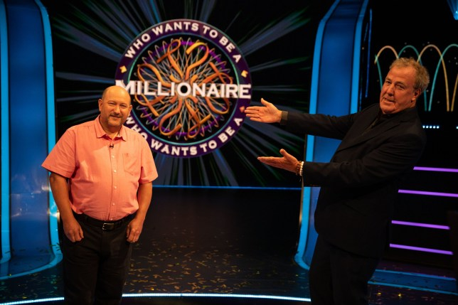 Undated handout photo issued by Stellify Media of Who Wants To Be A Millionaire? host Jeremy Clarkson (right) with contestant Donald Fear after he won the ITV show's ?1 million pound prize. Donald from Telford, Shropshire, a History and Politics teacher at Haberdasher Adams Grammar school, is the first contestant in 14 years to win the ?1 million top prize, becoming the sixth champion in the show's 22-year history. PA Photo. Issue date: Friday September 11, 2020. See PA story SHOWBIZ Millionaire. Photo credit should read: Stellify Media/PA Wire NOTE TO EDITORS: This handout photo may only be used in for editorial reporting purposes for the contemporaneous illustration of events, things or the people in the image or facts mentioned in the caption. Reuse of the picture may require further permission from the copyright holder.