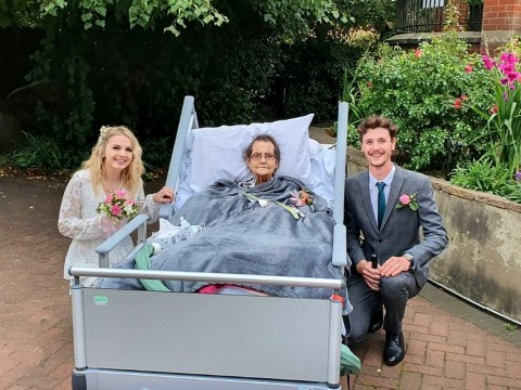 Couple have wedding in hospice garden so groom's terminally ill grandmother can be there