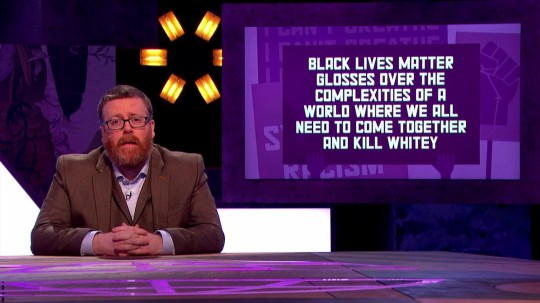 Frankie proposes the world needs to come together and kill whitie... DM VideoGrab BBC Tx 10/09/2020 Frankie Boyle's New World Order Series 4: Episode 2 Contains very strong language and adult humour Frankie Boyle tackles the biggest issues troubling the planet, making a string of bold and often outrageous statements which he then picks apart with the help of Sara Pascoe, Sophie Duker and Jamali Maddix.