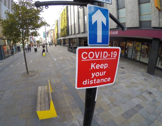 Dated 17/09/2020 COVID warning signs in place in Newcastle city centre urging people to maintain social distancing and to follow the one way system arrows, as new lockdown measures are set to come into effect across the North East from midnight tonight. See story North News