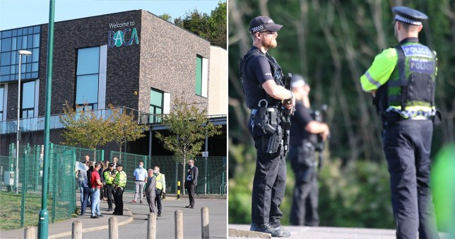 Composite image of armed police outside school