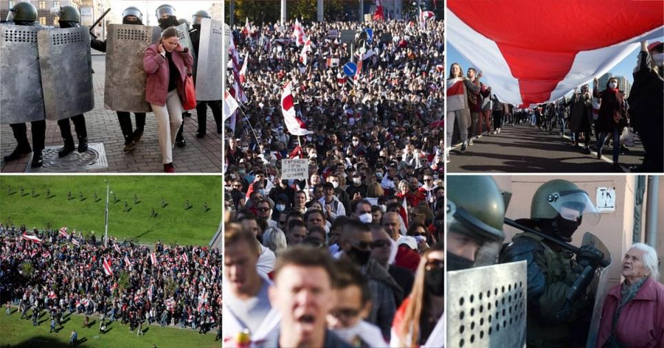 Des manifestants défilent lors d'un rassemblement pour protester contre les résultats de l'élection présidentielle à Minsk, en Biélorussie, le 20 septembre 2020.