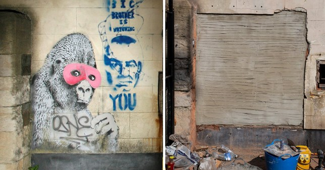Banksy's famous 'gorilla in a pink mask' has disappeared from a wall in Bristol.