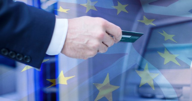 Composition showing man with bank card imposed onto EU flag