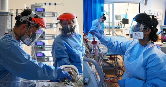 Doctors wearing PPE in surgery.